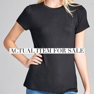61c202d4b2fb5d WILA Tops | Kristen High Round Neck Tee Black | Poshmark